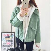 韩版女士时尚休闲棉袄面包服女棉服 羊羔毛外套