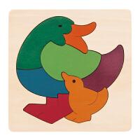 德国HapeE6501创意拼图-彩虹鸭儿童早教木质拼图玩具