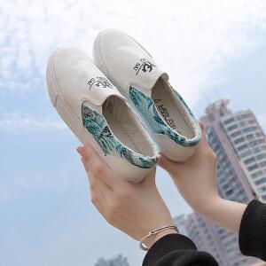 智升2017春季帆布鞋女平底韩版低帮休闲女鞋一脚蹬懒人鞋女乐福鞋