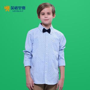 2017男童长袖春装新款男孩休闲衬衣中大童童装翻领纯棉衬衫