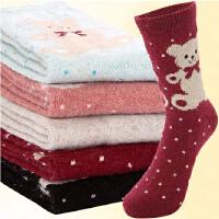 【包邮小熊款5双装】内慧 女袜秋冬款加厚兔羊毛袜子保暖中筒袜