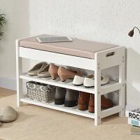 家逸 实木换鞋凳储物凳简约时尚创意多功能穿鞋凳鞋架