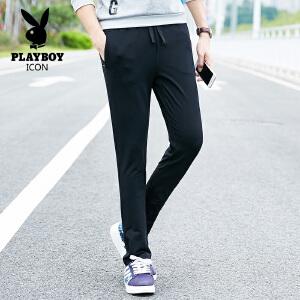 PLAYBOY/花花公子春季运动裤男士休闲裤韩版修身直筒宽松卫裤