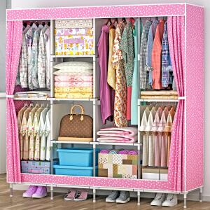 亚思特大号布衣柜 钢管加粗加固简易衣柜防尘组装折叠组合布衣橱1331