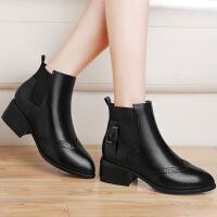 古奇天伦新款粗跟短筒秋冬季欧美时尚圆头套脚马丁靴子靴女靴 8524