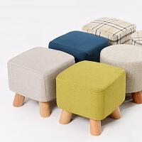 家逸 简约小凳子墩子软凳儿童换鞋凳实木脚四腿矮凳梳妆凳现代沙发凳四色可选
