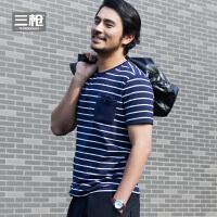三枪 春季新款 爽滑密棉男T恤2017春夏新品彩条圆领舒适柔软短袖男士汗衫