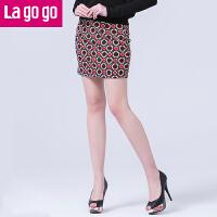 lagogo拉谷谷春秋新款显瘦韩版 高腰短裙EAP850H140