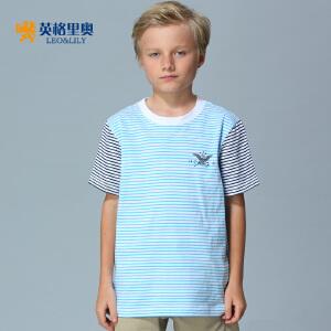 2017夏季童装男童打底衫纯棉圆领条纹体恤蓝色中大童儿童短袖t恤