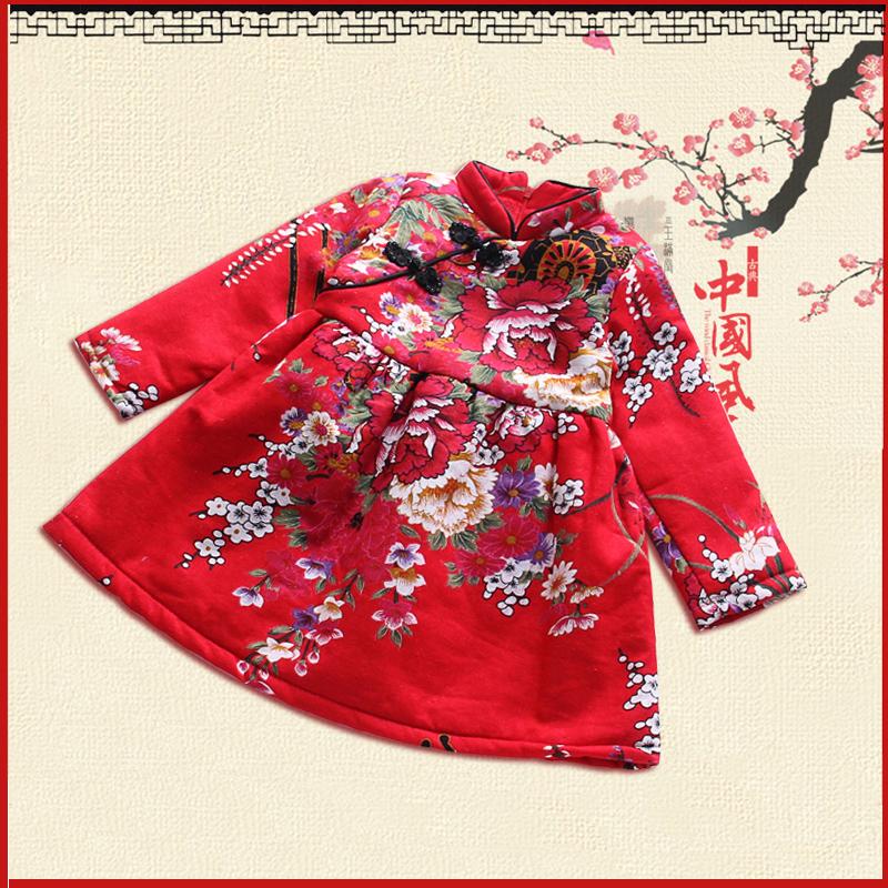 女童冬装2015新年装旗袍唐装连衣裙中国风复古花朵盘扣加绒棉裙