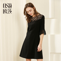 欧莎夏装女2017夏装新款女装性感镂空时尚七分袖气质连衣裙S117B13052