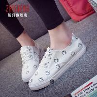 2017春季新款小白鞋帆布鞋平底板鞋韩版学生布鞋休闲鞋卡通球鞋