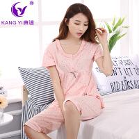 香港康谊新款睡衣女夏季薄款韩版可爱纯棉宽松短袖全棉家居服套装