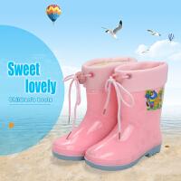 儿童雨鞋大童雨靴中筒童鞋套鞋中男童鞋水鞋女童胶鞋防滑耐磨水靴