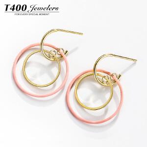 T400气质耳环女个性潮人百搭圈圈耳饰品简约性感金色银耳坠防过敏 20024