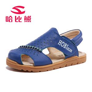 哈比熊童鞋2017年夏季新款男童凉鞋中男孩沙滩鞋中大童牛皮凉鞋潮