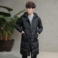 冬季男士棉衣韩版修身长款加厚棉服男款连帽棉服青年冬天外套男潮