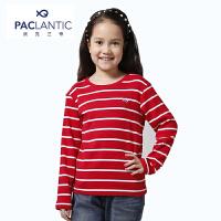 派克兰帝品牌童装 春装秋装女童 色织彩条圆领长袖T恤
