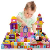 【满99减10】米米智玩 早教益智160块(含18块大块拼图)大块太空场景儿童积木 木制环保儿童玩具