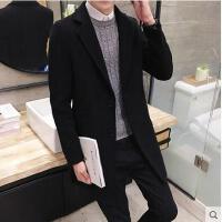 韩版新款风衣男士毛呢大衣时尚修身潮流装中长款青年呢子休闲外套DY18