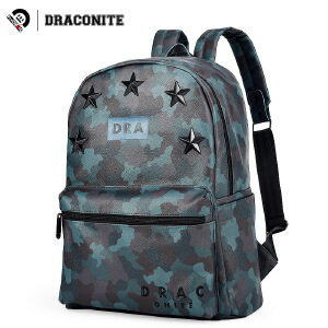 DRACONITE潮牌韩版迷彩印花双肩包男女旅行五角星pu皮背包11094A