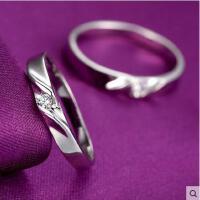 情侣对戒男女一对 首饰 配饰 结婚925银戒指时尚简约尾戒子银饰指环配饰
