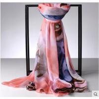 韩版纱巾百变披肩围巾防晒沙滩巾 丝巾女冬季保暖长款雪纺