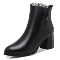 古奇天伦 秋冬款防水台短靴 时尚休闲女鞋子马丁靴子加绒保暖踝靴 8521