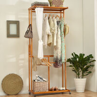 家逸 落地衣帽架创意实木挂衣架简易衣柜大衣架