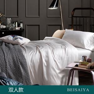 贝赛亚 高端60支贡缎长绒棉床品 双人纯色床上用品四件套 柯南灰