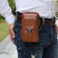 男士手机包头层牛皮双层腰包5.5寸5.7寸6寸真皮手机腰包穿皮带腰包