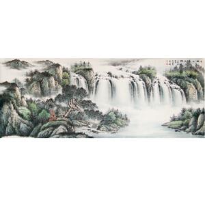 《依山傍水图》180-70厘米,中国女工笔画协会委员,书画家协会一级美术师张一娜女士