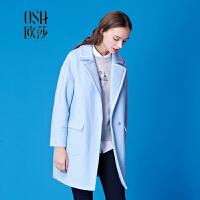 限时抢欧莎冬装新款韩版中长款 纯色廓形毛呢大衣女C21103