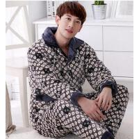 男睡衣 家居服套装 加厚睡衣 珊瑚绒加厚夹棉睡衣男加厚法兰绒睡衣棉袄家居服套装