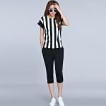 2017夏装新款韩版大码女装两件套200斤胖MM宽松显瘦休闲短袖上衣+短裤17DX6030