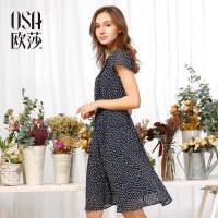 OSA欧莎2017夏季新款蓝底白花轻盈短袖连衣裙女S117B13067