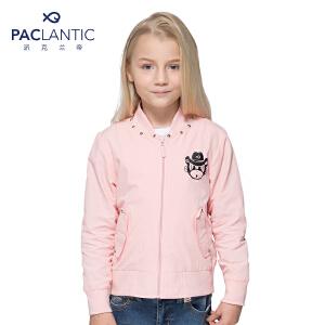 派克兰帝品牌童装 女童秋装秋装时尚铆钉棒球夹克 儿童外套
