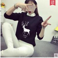 拼接假两件长袖套头加绒卡通卫衣女学生 韩版大码休闲衬衫领