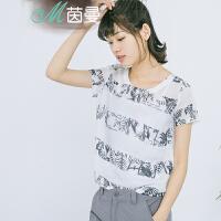 茵曼女装上衣两件套短袖衬衣棉麻衬衫【1862103598】