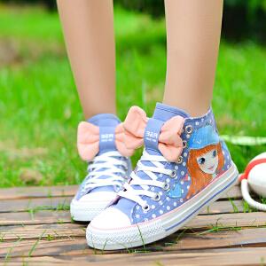 智升2016新款高帮蝴蝶结帆布鞋女韩版潮 少女可爱学生鞋平底布鞋单鞋