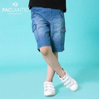 派克兰帝童装儿童牛仔短裤2017夏季新款儿童时尚休闲牛仔短裤