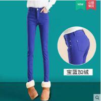 新款潮女裤子加厚显瘦小脚裤女士铅笔裤 加绒休闲裤女长裤