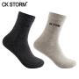 CK STORM 商务袜子 男士精梳棉银袜品牌LOGO纯色休闲短袜2双装  均码
