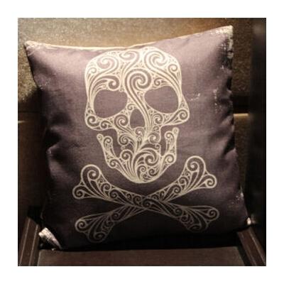 万圣节骷髅抱枕套 复合亚麻防霉吸汗 可来图定做靠枕 44*44cm
