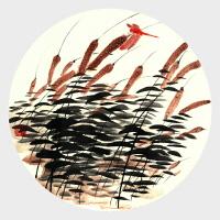 可涵《晚霞中的红蜻蜓》水墨绘画