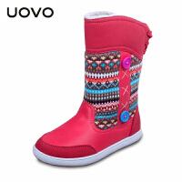 【满200减100】UOVO2017童鞋冬季新款女童靴子儿童保暖童靴女童雪地靴套脚童靴驯鹿2014