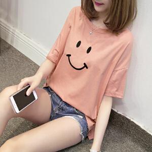 夏季新款学院风学生百搭宽松笑脸刺绣短袖T恤衫大码女装JM028-7121