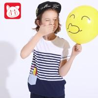 小猪班纳2017夏装新款 男童短袖t恤 条纹短袖中大童纯棉圆领t恤