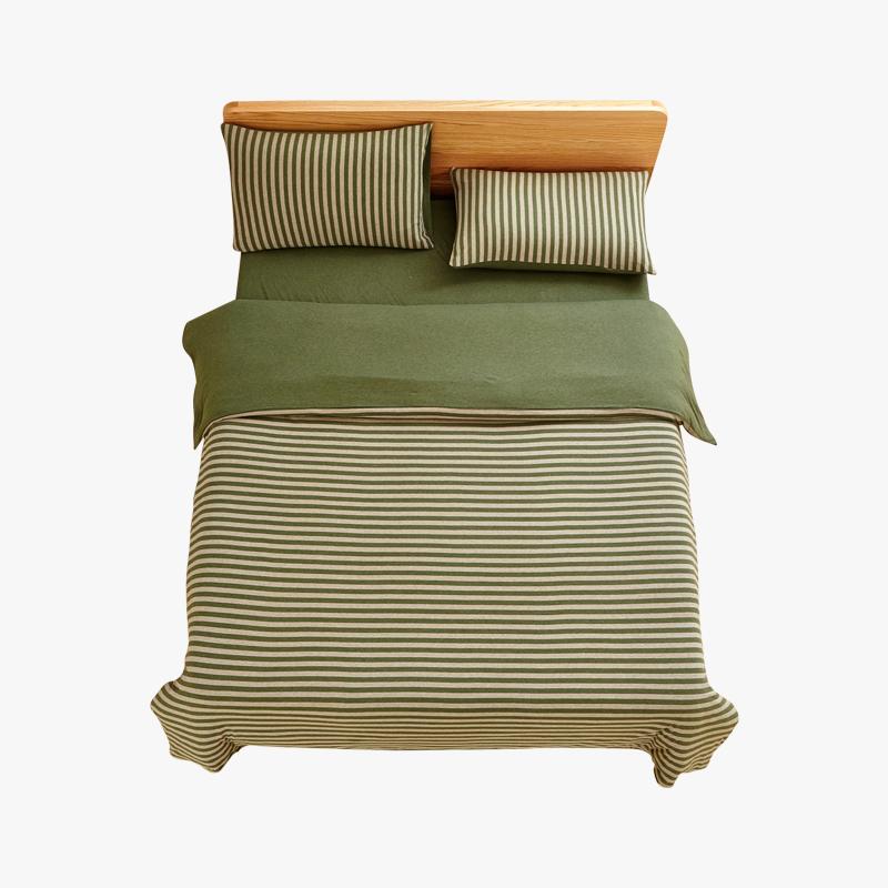 当当优品家纺 全棉日式针织床品 1.5米床 床笠四件套 条纹草绿当当自营 MUJI制造商 100%针织棉 百隆纱线着色均匀牢固