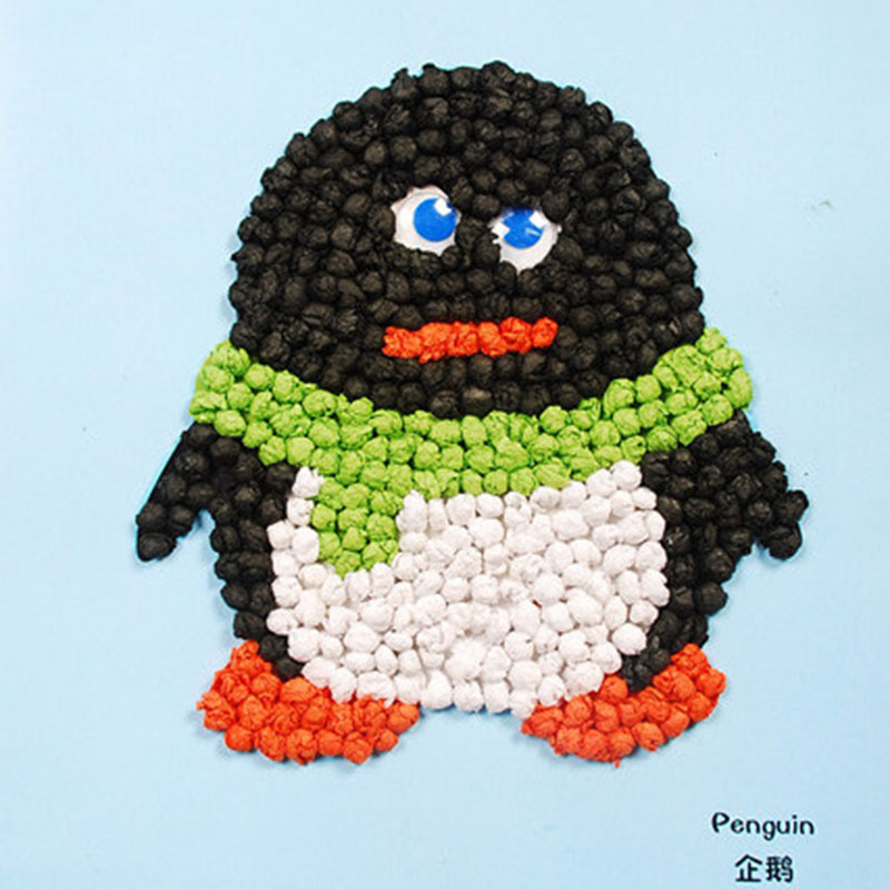 手揉纸搓纸画儿童手工制作材料包diy创意粘贴画智力玩具_企鹅绿